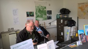 Me operating ably assisted by John Glover M0JGR (Photo John Ray G8DZH)